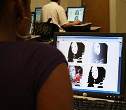 Students using Adobe Illustrator in the Computerized Graphics class.