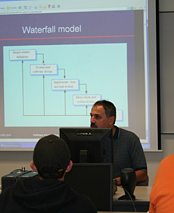 Dr. James Haralambides explains logical structures for his Software Engineering class.