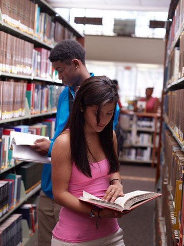 Barry University Students in the Library