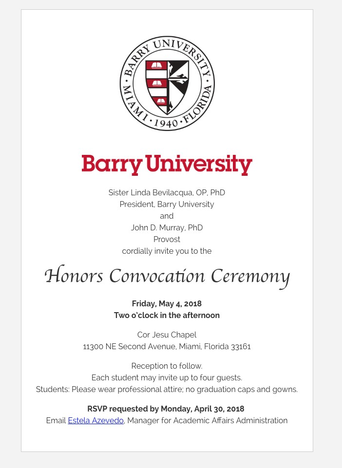 2018 Honors Convocation Ceremony