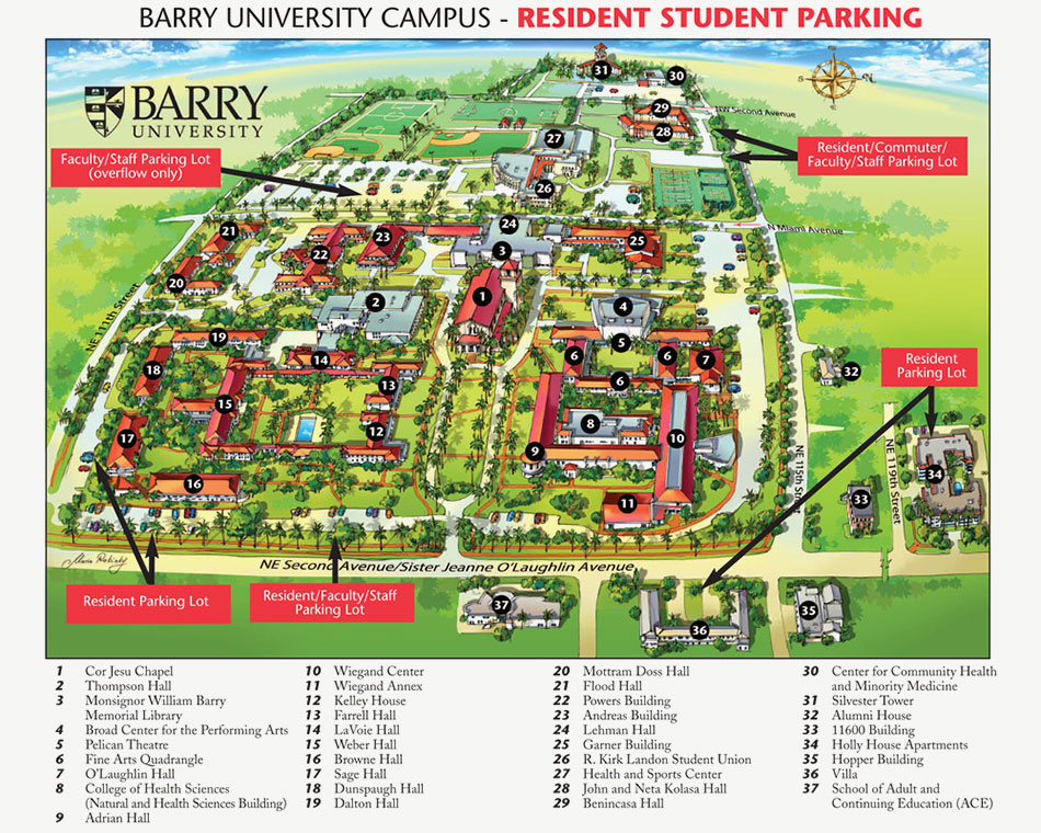 Barry University Campus - Resident Student Parking