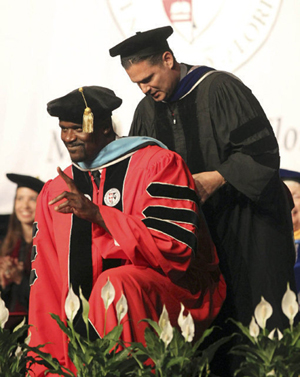 Dr. David M. Kopp with Dr. Shaquille O'Neal at the May 5th commencement at Barry University