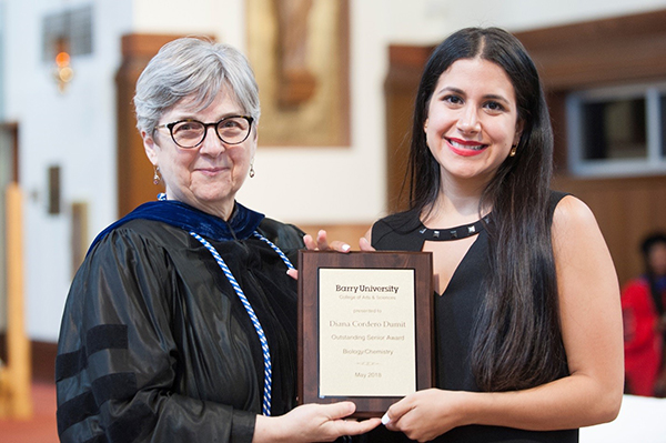 Diana Cordero received College of Arts and Sciences Outstanding Graduate award