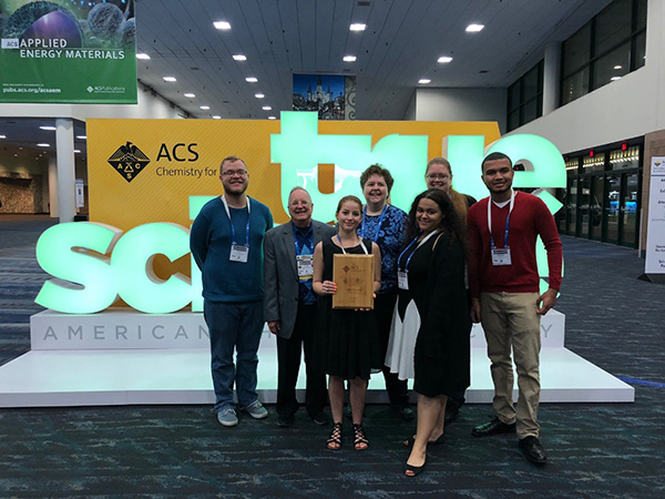 Students and faculty presented research and received the Outstanding Chemistry Club award at the 255th American Chemical Society National Meeting in New Orleans, LA